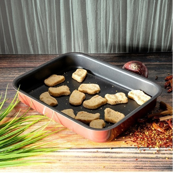 Royalford RF1147-SP32 Non-Stick Square Baking Tray, 32 CM | Premium Bakeware Carbon Steel Baking Tray, Non-Stick Baking Pan, Induction Safe Baking Pan