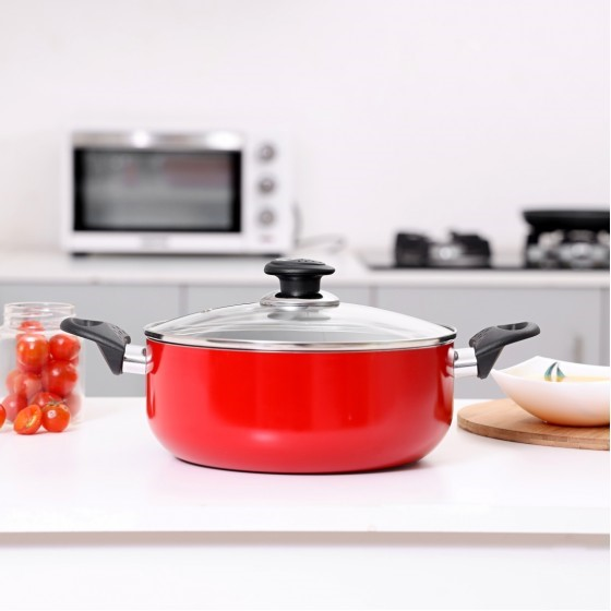 Royal ford RF1249C18   Non-Stick Ceramic Casserole with Lid 18 cm– Durable Non-stick Coating, High-Quality Construction with Heat Resistant Handle | Dishwasher Safe | Non-Stick Dish for Gas & Ceramic Hobs