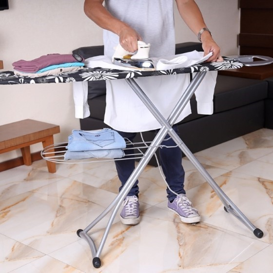 Royalford RF1511-IB Mesh Ironing Board With Attached Cloth Rack, 128x38 CM