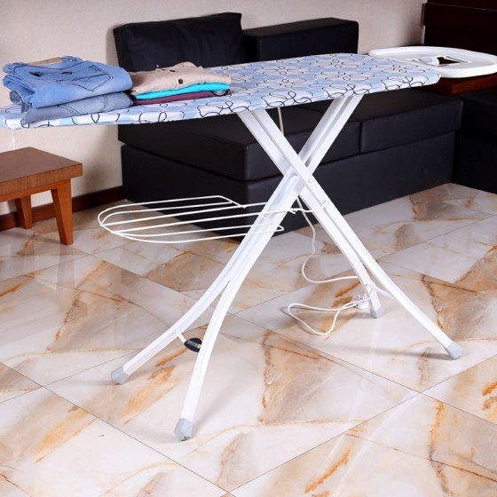 Royalford RF1968IB Mesh Ironing Board with Attached Cloth Rack, 122x38 CM
