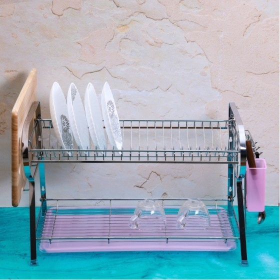 Royalford RF2565 Wall Hanging Dish Rack with Plastic Drip Tray, 625x478x641 MM