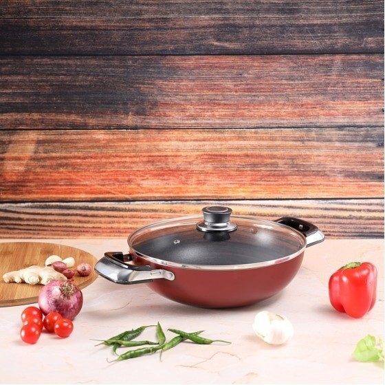 Royalford RF2947 Non-Stick Wokpan With Lid, 22 CM