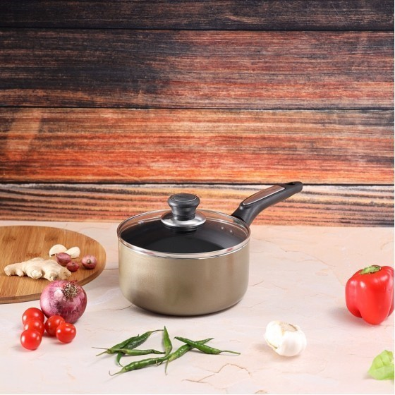 Royalford RF2961 Sauce Pan With Lid, 18 CM | Aluminium Non-Stick Small Enamel Saucepan with Lid Made of Toughened Glass, Cooking Surface Induction Saucepan
