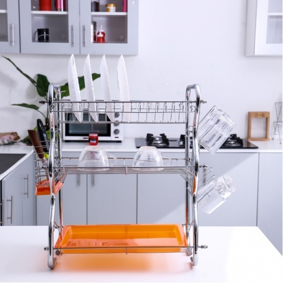 Royalford RF4373 3-Layer Dish Rack With Cutlery Holder