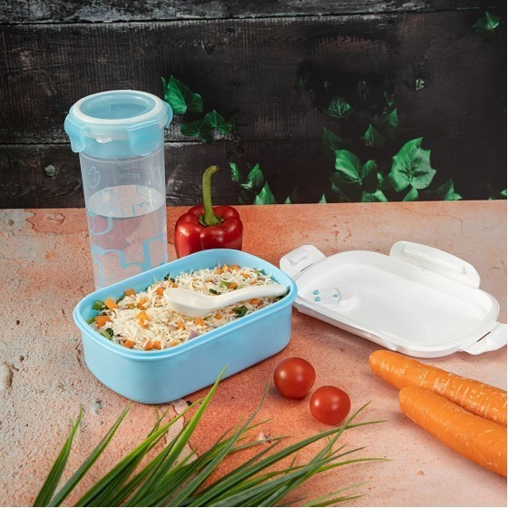 Royalford RF4396 Lunch Box with Water Bottle - Portable Design Perfect Lock with Seal System to Avoid Spillage | Travel Safe | Compact lids with High Grip Clips | Ideal for Office, Picnic, Outings & More