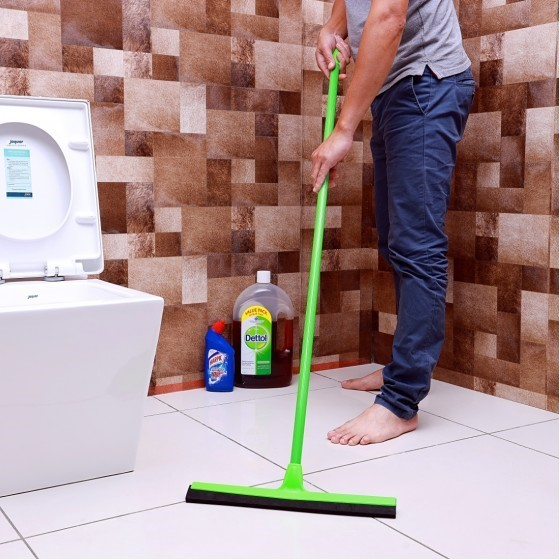 Royalford RF4697 Floor Wiper - Commercial Standard Floor Squeegee Long Handle for Wet Room, Floor, Windows, Tile, Shower, Garage   Hanging Loop with Broad Wiper