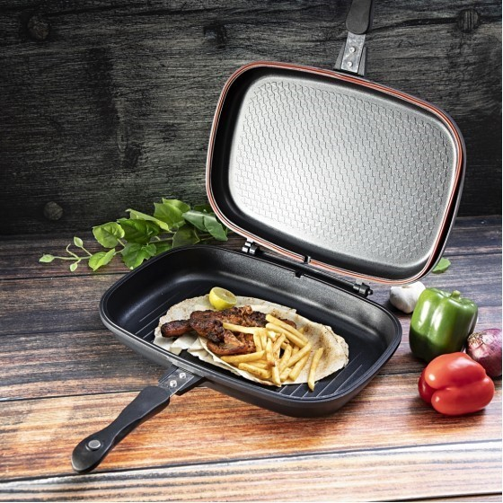 Royalford RF6619 Non-Stick Double Grill Pan, 36 CM