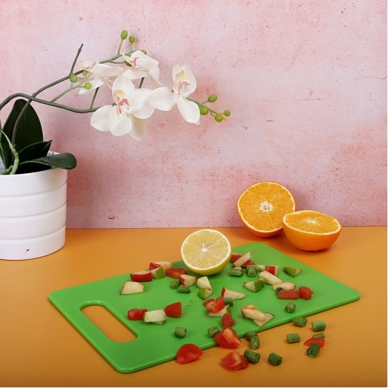 Royalford RF7324 Chopping Board - Cutting Board with Non-Slip Base- Perfect for Fruits & Vegetables -Hanging Hole for Easy Storage - Multipurpose Dual Usage Kitchen Cutting Board (Yellow)