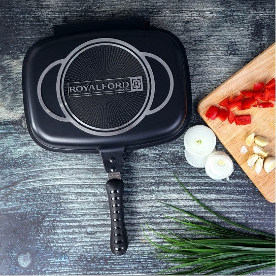 Royalford RF7901 Double Grill Pan Set, 32 cm, Non-Stick Double Sided Frying Pan, Griddle Pan Cooking Equipment