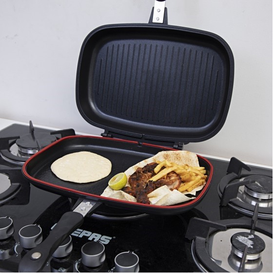 Royalford RF7903 Double Grill Pan Set, 40 cm, Non-Stick Double Sided Frying Pan, Griddle Pan Cooking Equipment