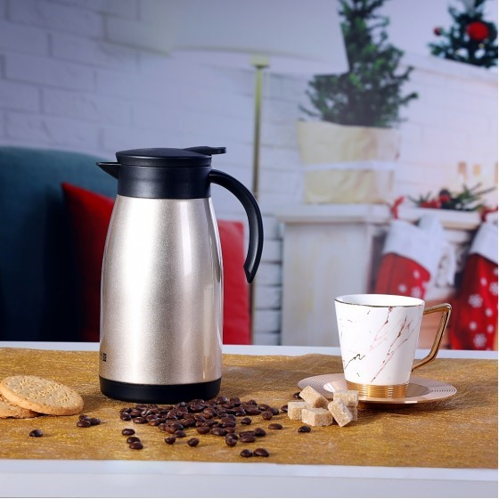 Royalford RF8304 Insulated Vacuum Thermal Flask – 1 Litre Double Walled Stainless Steel Vacuum Isolating Jug for Tea, Coffee, Hot & Cold Drinks – Portable and Leak Resistant Insulated Travel Mug