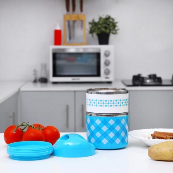 Royalford RF7304 930ML Double Layer Lunch Box - Leak-Proof & Airtight Lid Food Storage Container