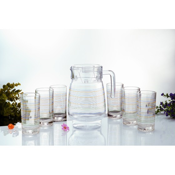 Royalford RF7943 Glass Whiteline Water Set, 7pieces