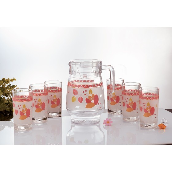 Royalford RF7944 Glass Water Set, Orange Blossom Design, 7pieces
