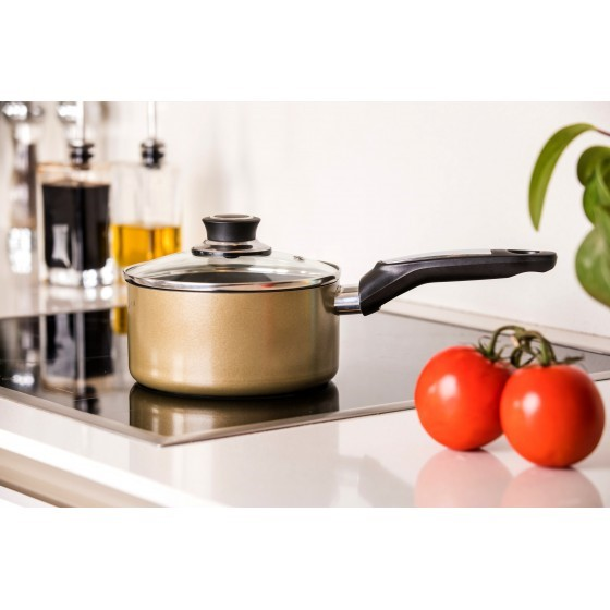 Royalford 18cm Aluminium Non-Stick Small Enamel Saucepan with Lid Made of Toughened Glass, Cooking Surface Induction Saucepan