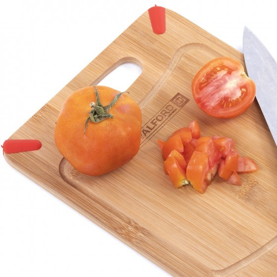Royalford Organic Bamboo Chopping Board - Large Kitchen Cutting Board (25x20x0.8) cm - Best for Food Prep, Meat, Vegetables, Bread & Cheese - Professional Grade for Strength, Durability & Lightweight