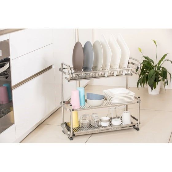 Royalford 3 Tiered Kitchen Dish Drainer Drying Rack, Multi-Purpose Draining Board with Drip Tray, Durable and Easy to Assemble