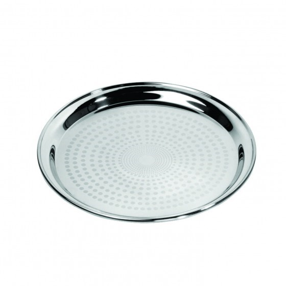 "Royalford RF5342 16"" Stainless Steel Group Serving Tray - Stackable Swirl Pattern Round Bar Tray Silver Platters for Serving Cocktails & Beverages at Parties, Restaurants, Bars, & Catering with Mirror Finish"