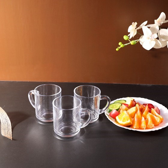 Royalford RF2752-GW Glass Mug Set, 3pieces