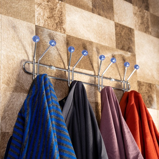 Royalford RF1427-MH4 Metal Hanger - 4 Metal Hooks with Rubber Cover   Multi-functional 6 Hook Rack Organizer for Hanging Coat Clothes Hat Towel Bags Keys   Durable Heavy-Duty Wall-Mounted Hook Rack