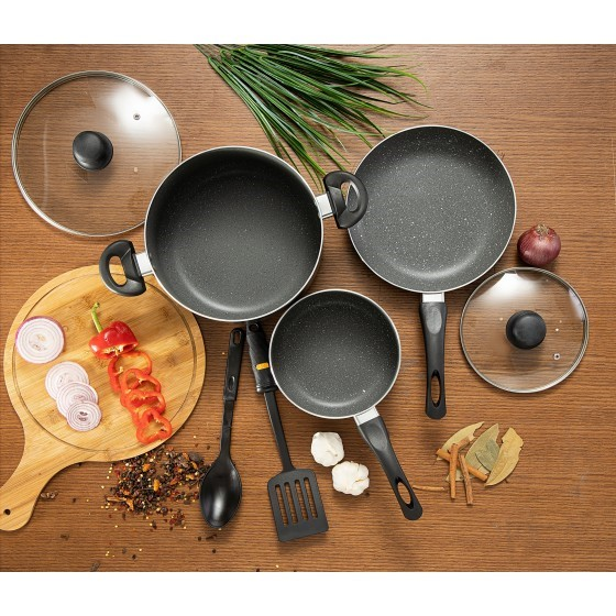 7Pc Marble Coated Alum.Cookware Set