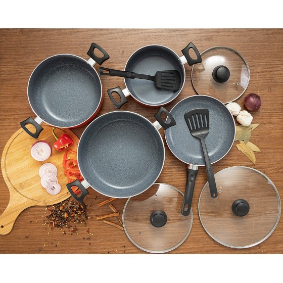 9Pcs Alumi Cookware set Marblecoated