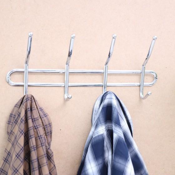 Royalford Wall Mount Hook | 4 Metal Hooks | Multi-functional 6 Hook Rack Organizer for Hanging Coat Clothes Hat Towel Bags Keys | Durable Heavy-Duty Wall-Mounted Hook Rack