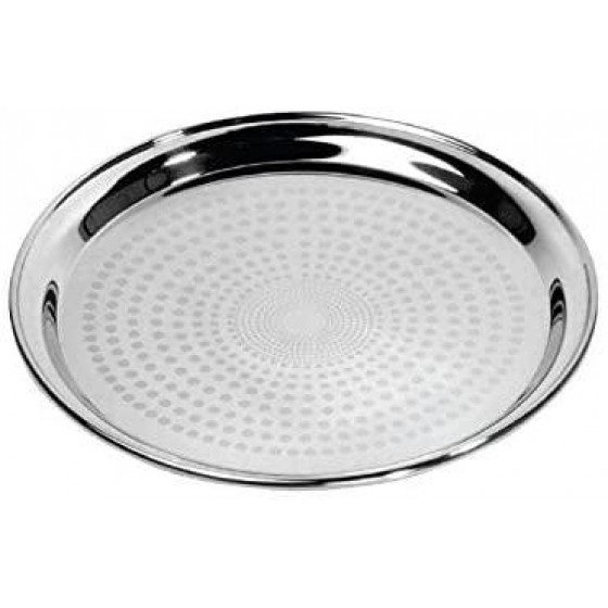 "Royalford RF5345 22"" Stainless Steel Group Serving Tray - Stackable Swirl Pattern Round Bar Tray Silver Platters for Serving Cocktails & Beverages at Parties, Restaurants, Bars, & Catering with Mirror Finish"