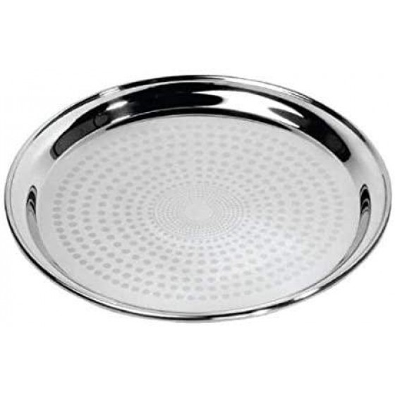 "24"" Stainless Steel Group Serving Tray - Stackable Swirl Pattern Round Bar Tray Silver Platters for Serving Cocktails & Beverages at Parties, Restaurants, Bars, & Catering with Mirror Finish"