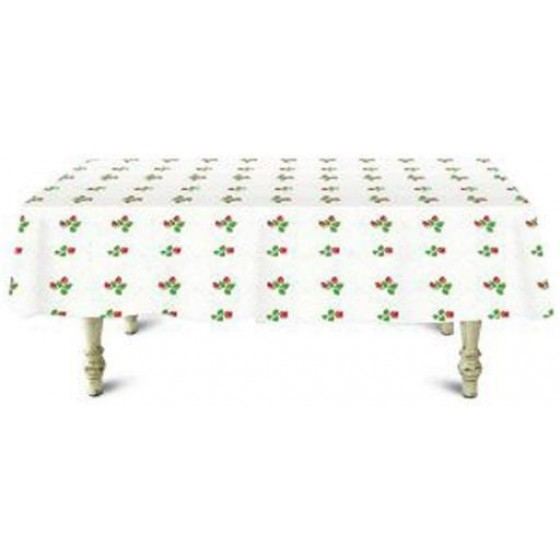 20M Table Roll - Tablecloth Cover Protector | Tablecloth Daisy Silver, Small Polka Floral, Wipe Clean, Table Cloth | Spill Proof Reusable Roll | Ideal Dinning Table, Hall, & More (White & Green)