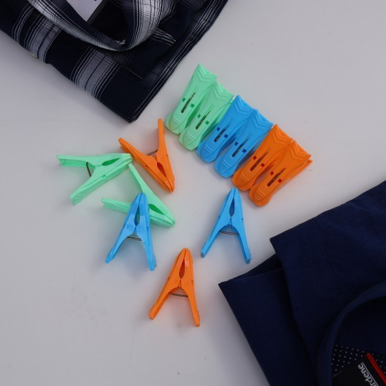 Royalford RF5280 Multi-Purpose 14 Pieces Cloth Clip - Hanger Clips, Slim-line Plastic Finger Clips Clothes Pants Hanger Clips | Multi Colour | Ideal for Hanging Clothes