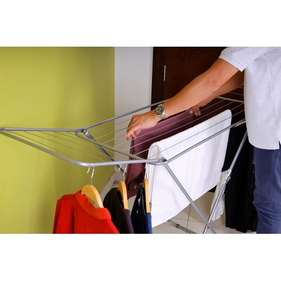 Royalford RF5000 Large Folding Clothes Airer - Drying Space Laundry Washing |Durable Metal Drying Rack | Multifunctional Air Dryer Ideal for Indoor and Outdoor | Easy Store 2 Folding Winged Clothes Airer