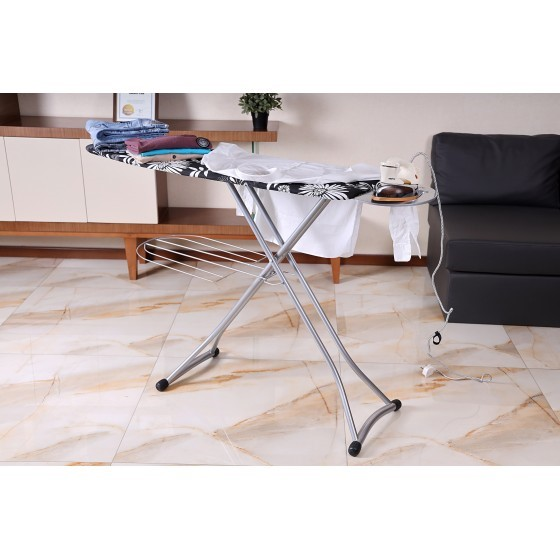 RoyalFord RF1151-1B Mesh Ironing Board With Attached Cloth Rack, 128 x 38cm