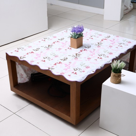54 X 72 Cm Oblong Table Cloth - Tablecloth Cover Protector | Tablecloth, Small Floral, Wipe Clean, Table Cloth | Spill Proof Reusable Roll | Ideal Dining Table, Hall, & More (White Colour)