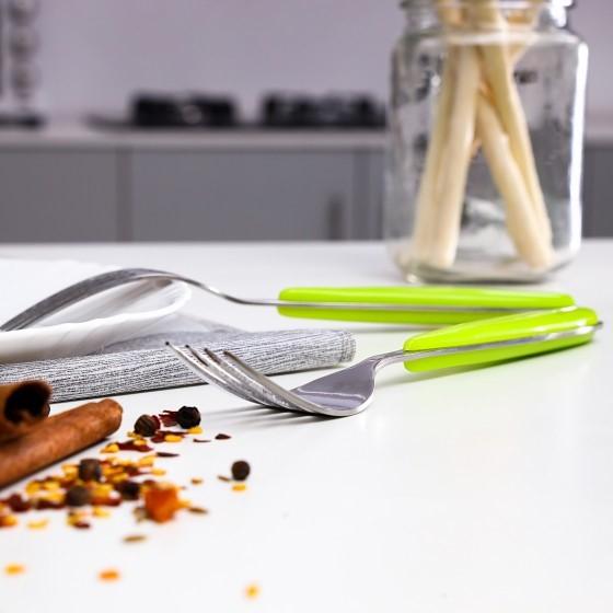 2 Pieces Tab Fork - Ideal for Eating Salad, Dessert, Appetizer, Fruit Salad, Chinese Food & more | Dishwasher Safe | Dinner Forks, Table Forks Ideal for Family, Hotels, & Office (Green & Silver)