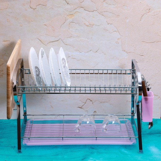 Royalford RF2565 Wall Hanging  Dish Rack with Plastic Drip Tray, 625 x 478 x 641mm
