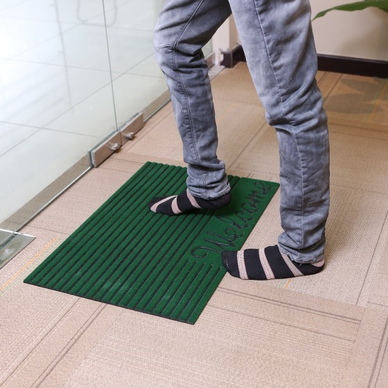 Rubber Mat 43.18*66.04Cm - Home, Shop Outdoor Rubber Entrance Mats Anti Fatigue None Slip Indoor Safety Flooring Drainage Door Mat | Ideal for Home, Office, Garage & More (Green)