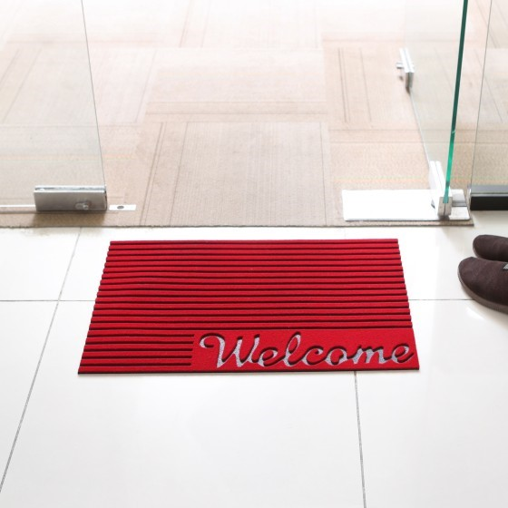 Rubber Mat 43.18*66.04Cm - Home, Shop Outdoor Rubber Entrance Mats Anti Fatigue None Slip Indoor Safety Flooring Drainage Door Mat | Ideal for Home, Office, Garage & More (Red)