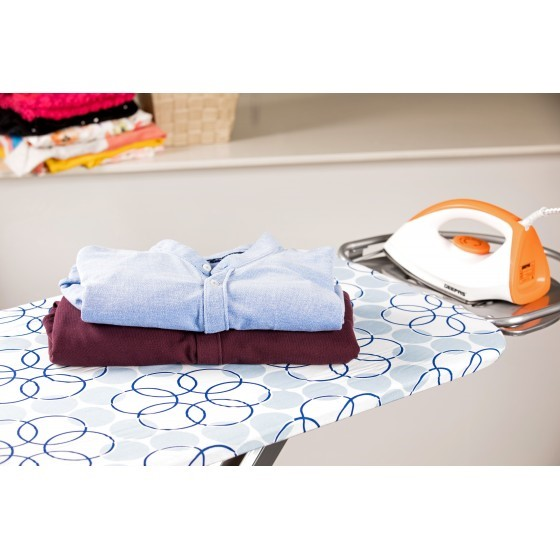 Royalford RF365IBL 127x46 cm Ironing Board with Steam Iron Rest, Heat Resistant, Contemporary Lightweight Iron Board with Adjustable Height and Lock System