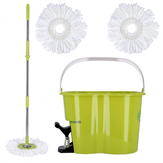 Royalford RF4238 360 Mop and Bucket Set - Modern Spin 3600 Spinning Mop Bucket| Adjustable Handle, Press Pedal & Dispenser Separates Clean and Dirty Water | Ideal for Marble, Tile, Wooden Floors & More