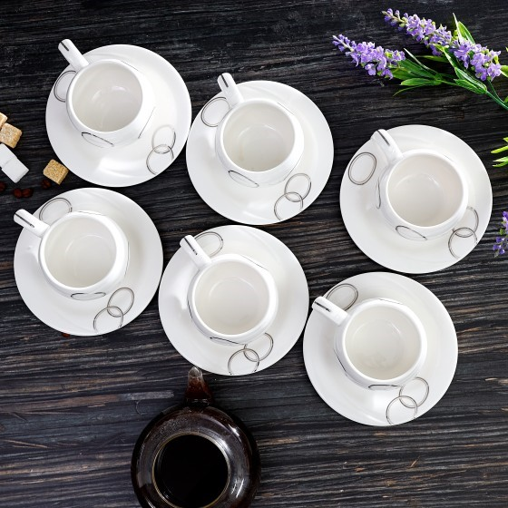 Royalford RF4310 New Bone China Cup & Saucer Set, 6 Pcs - Ideal for Daily Use - Non-Toxic, Ecologically Tasteless, Smooth Surface, Translucent, Comfortable Grip and Lightweight