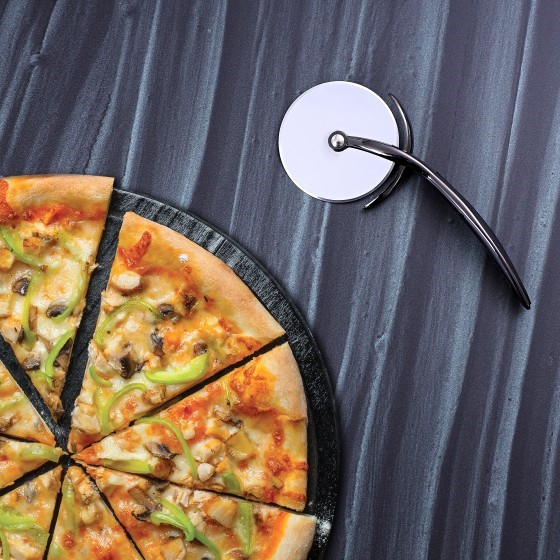 Royalford RF4643 Stainless Steel Pizza Cutter Wheel - Equipped with Ultra Sharp Blade, Slip-Proof Ergonomic Handle and Classic Design - Ideal for Pizza, Pies, Waffles and Dough Cookies