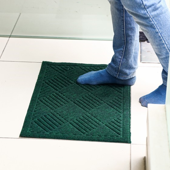 Royalford RF4954 Rubber Mat - Home, Shop Outdoor Rubber Entrance Mats Anti Fatigue None Slip Indoor Safety Flooring Drainage Door Mat | Ideal for Home, Garage, Terrace, Laundry Room, Entryway & More (Green)