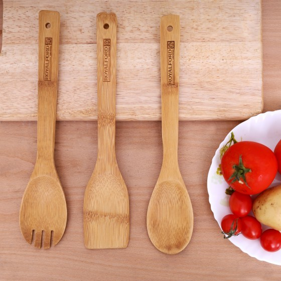 Royalford RF5109 3 Pcs Bamboo Kitchen Tools Set - Wooden Solid Turner, Spatula, & Slotted Spatula Kitchen Essentials Cooking Utensils Tool Set | Cutlery Set for Natural and Eco-Friendly Cooking Tools