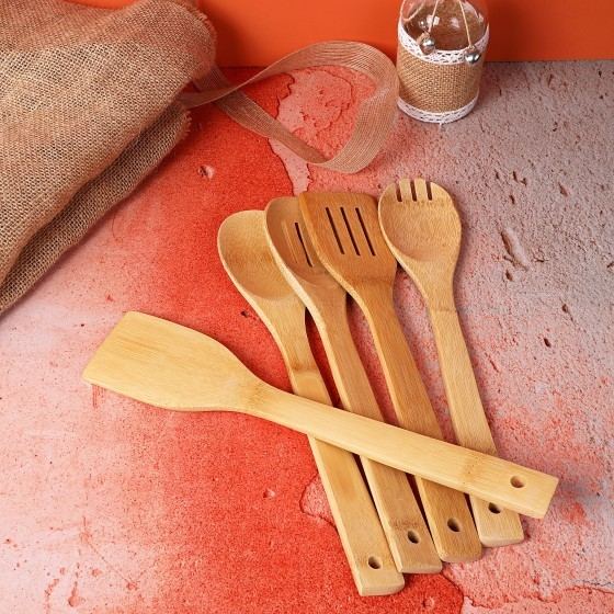 5 Pcs Bamboo Kitchen Tools Set