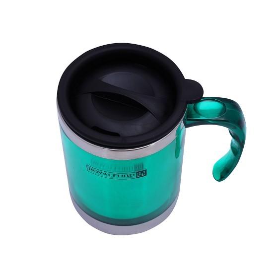Royalford RF5131GR 290MLTravel Mug - BPA Free, Double Wall & High Grade Stainless Steel Inner - Hot & Cool, Portable, Leak-Resistant - Preserves Flavor and Freshness