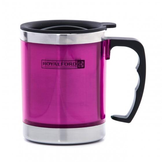 Royalford RF5131PN 290MLTravel Mug - BPA Free, Double Wall & High Grade Stainless Steel Inner - Hot & Cool, Portable, Leak-Resistant - Preserves Flavor and Freshness