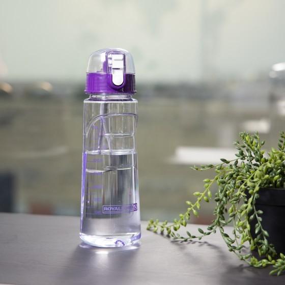 Royalford RF5222PP Water Bottle with Time Marker - Large 750ML BPA Free Water Bottle | Leak Proof & No Sweat Gym Bottle with Fruit Infuser Strainer | Ideal Gift for Fitness or Sports & Outdoors