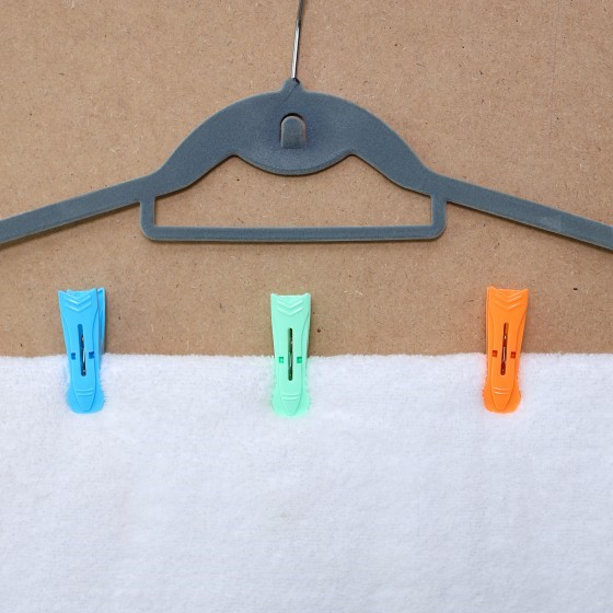 Royalford RF5281 Multi-Purpose 12 Pieces Cloth Clip- Hanger Clips, Slim-line Plastic Finger Clips Clothes Pants Hanger Clips | Multi Colour | Ideal for Hanging Clothes