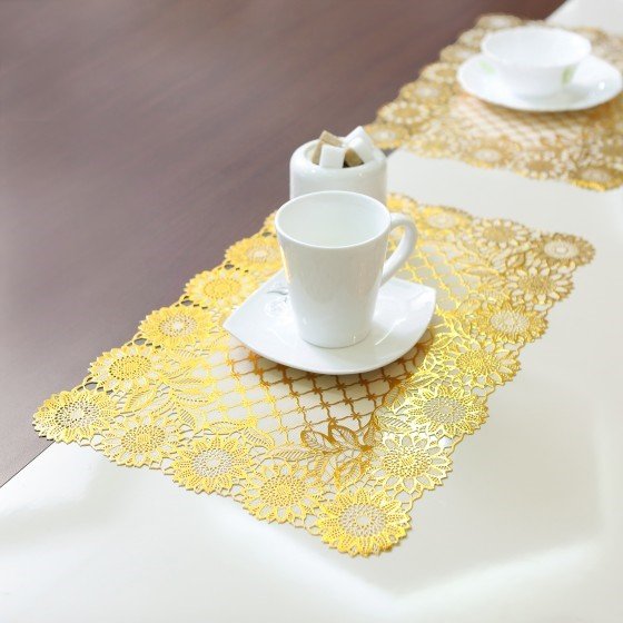 Royalford RF5354 6Pc Table Place Mat Set - PVC Non-Slip Dining Table Mats - Heat Resistant, Stain-Resistant & Easy to Clean Placemats - Stylish Home Decor Dinner Table Protector - 12x18 cm - Flower Design